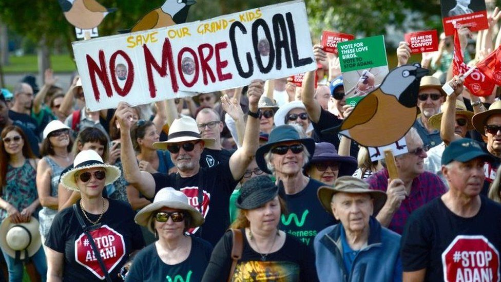 A protest against Adani's Carmichael mine takes place in Sydney