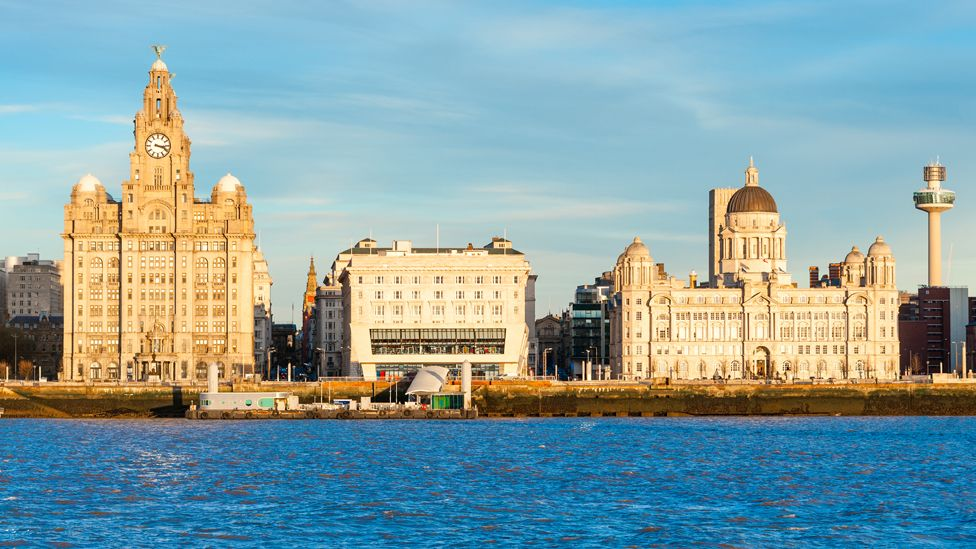 The three graces of Liverpool. The Royal Liver Building, Cunard Building and Port of Liverpool Building at pierhead.