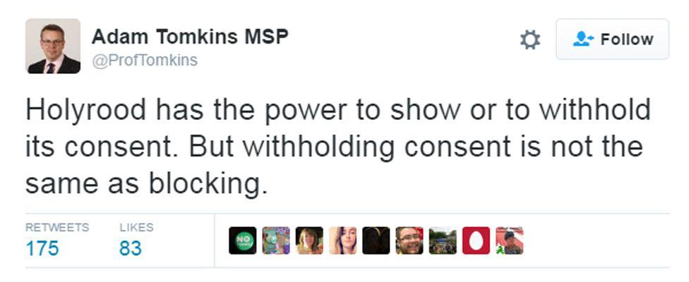 Tweet about Scotland block