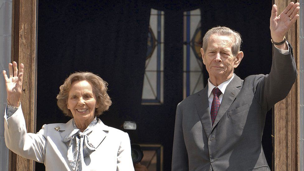 File pic from 2008 former Romanian King Michael and his wife Anne, at Peles Castle, in Sinaia, Romania