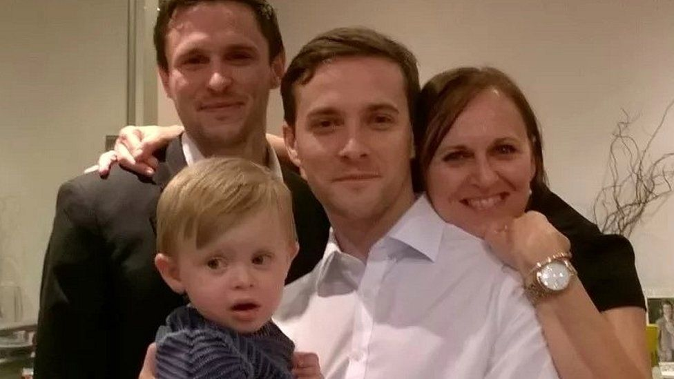 Oliver Dearlove with his brother Josh; mother Joy; and his nephew [Josh's son]