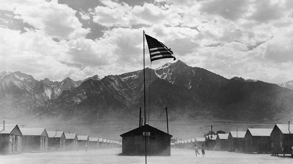 Archive photo of Manzanar camp in July 1942