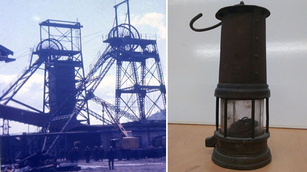 Albion Colliery in 1966 and a miner's lamp from the 1894 disaster