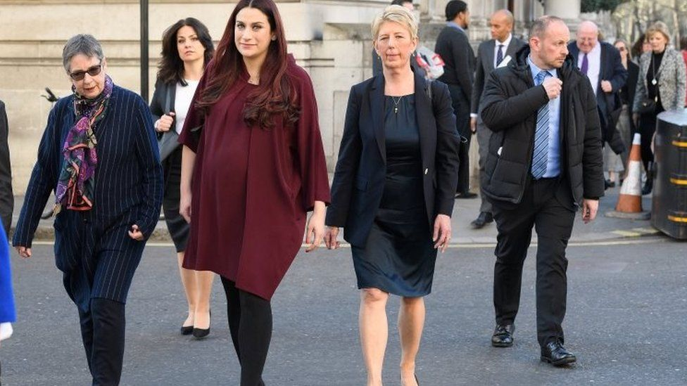 Former Labour and Conservative MPs Ann Coffey, Heidi Allen, Luciana Berger, Angela Smith, Chuka Umunna, Mike Gapes and Anna Soubry of the independent group of MPs