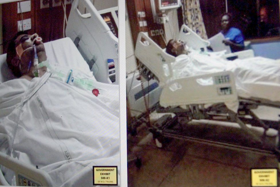 Evidence pictures from court showing Tony Sanghani in hospital in 2014