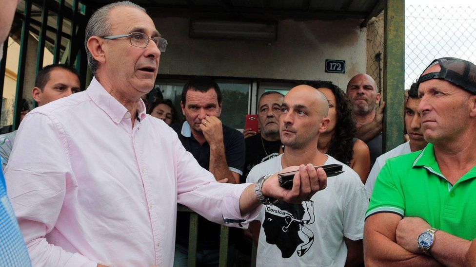 File pic of Sisco Mayor Ange-Pierre Vivoni addressing demonstrators on 17 August