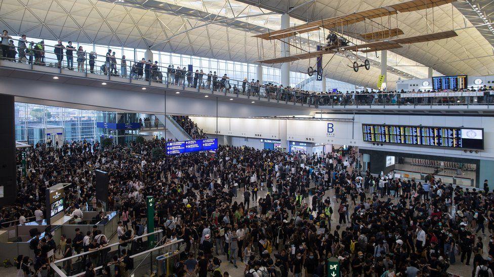 Protesters occupy Hong Kong Chek Lap Kok International Airport in Hong Kong, China,