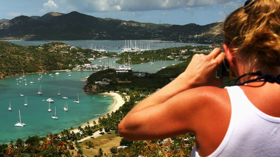 View of bays and beaches of Antigua