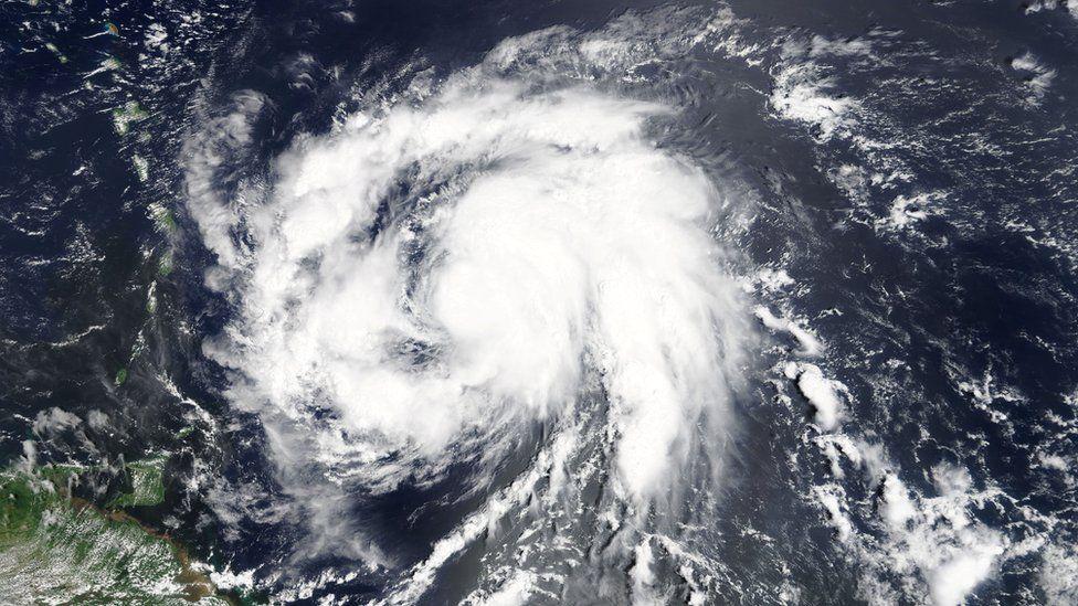 Image shows Hurricane Maria in the Atlantic ocean