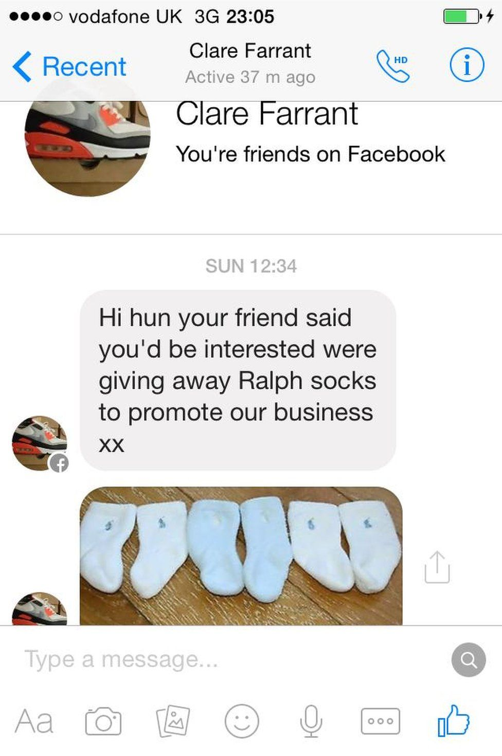 Facebook message from 'Clare Farrant'