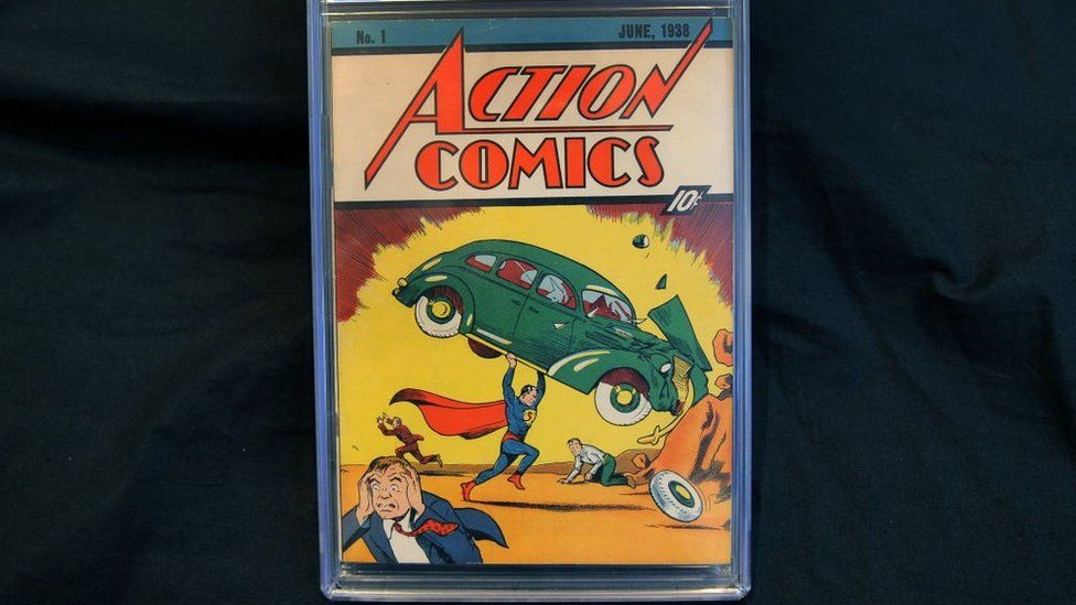 Action Comics #1 comic book of 1938 is pictured on February 23, 2010 in New York