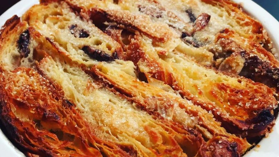Bread and butter pudding made from day-old croissants