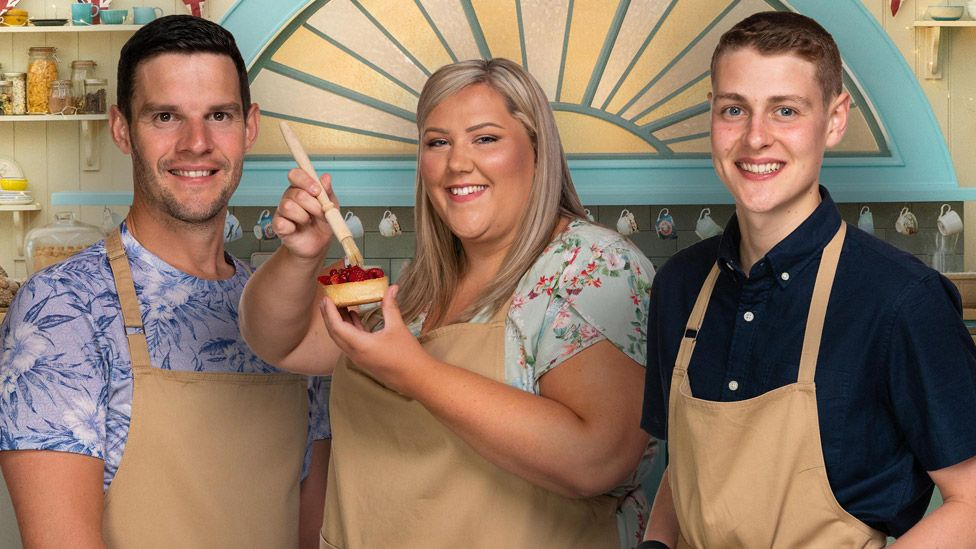 Bake Off 2020 finalists Dave, Laura and Peter