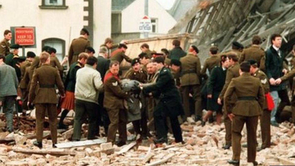 Snapshot of aftermath following explosion at Enniskillen cenotaph in 1987