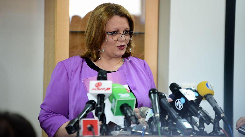 Katica Janeva talks at a press conference