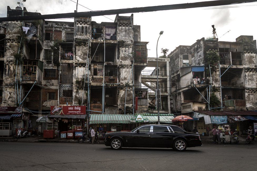 Phnom Penh's iconic White Building from the outside