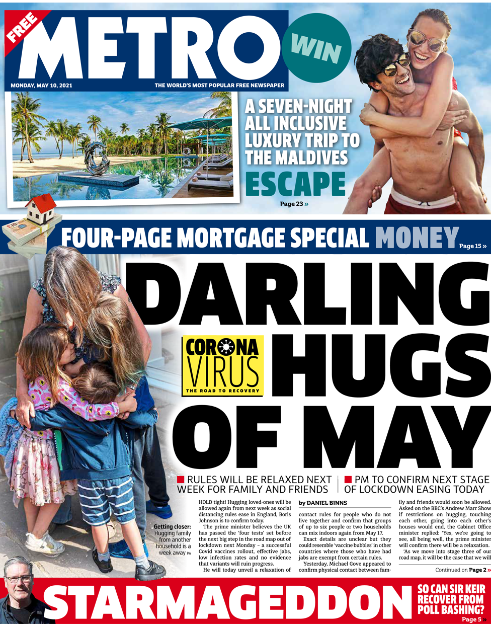 Metro front page 10 May 2021