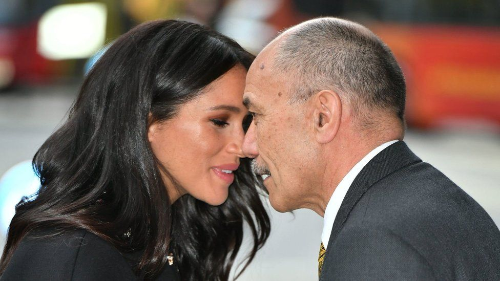 Meghan greets New Zealand High Commissioner to the UK, Sir Jerry Mateparae