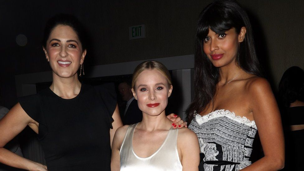 D'Arcy Carden, Kristen Bell, and Jameela Jamil