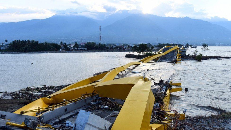 A Indonesian bridge destroyed by a tsunami