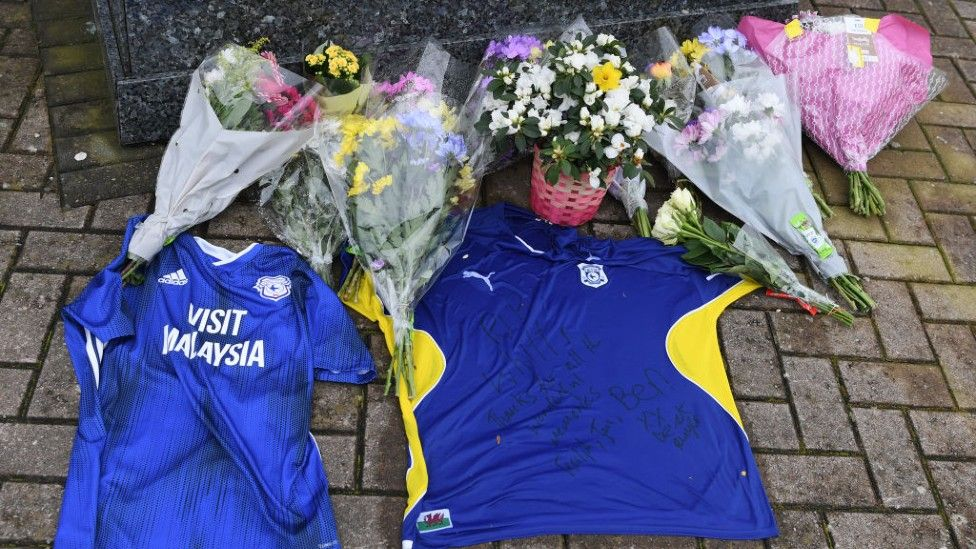Tributes left outside Cardiff City stadium for Peter Whittingham