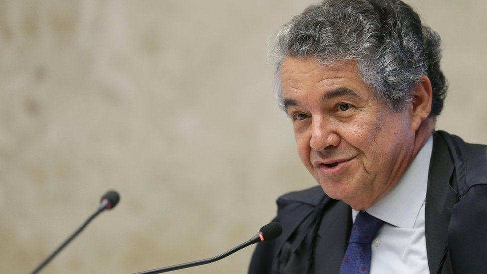 Judge Marco Aurelio Mello speaks during a session to discuss the fate of Senate leader Renan Calheiros, in Brasilia