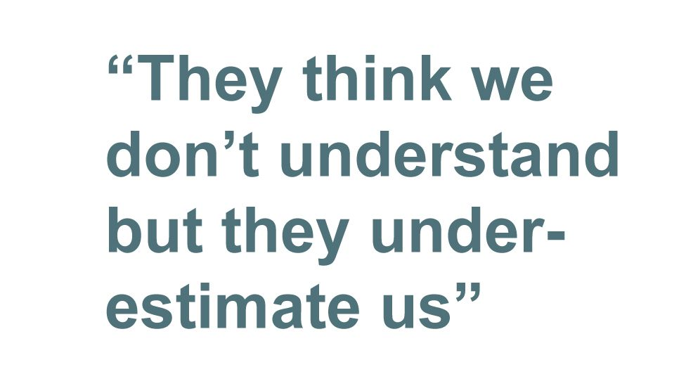 Quotebox: They think we don't understand but they underestimate us