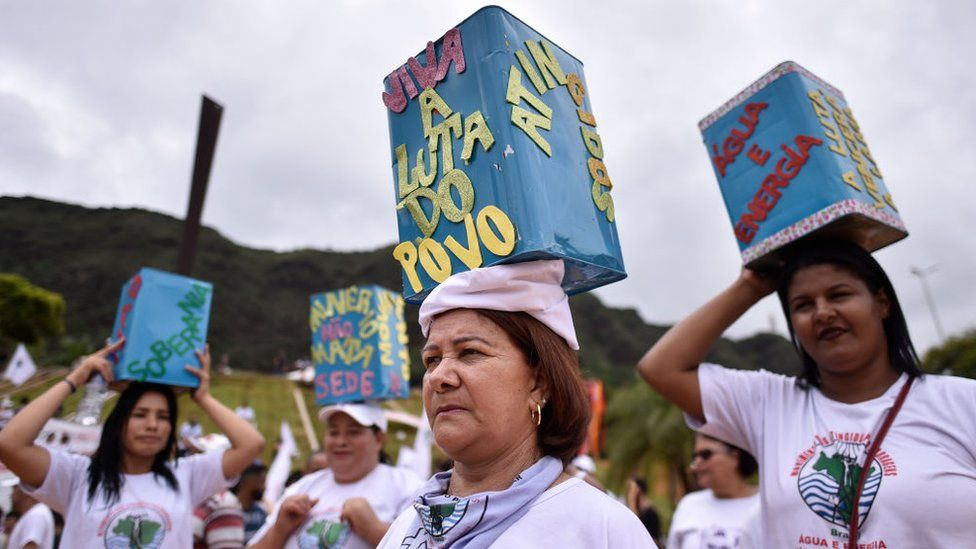 People take part in a march from Belo Horizonte to Brumadinho on 20 January to mark one year since the Brumadinho dam collapsed