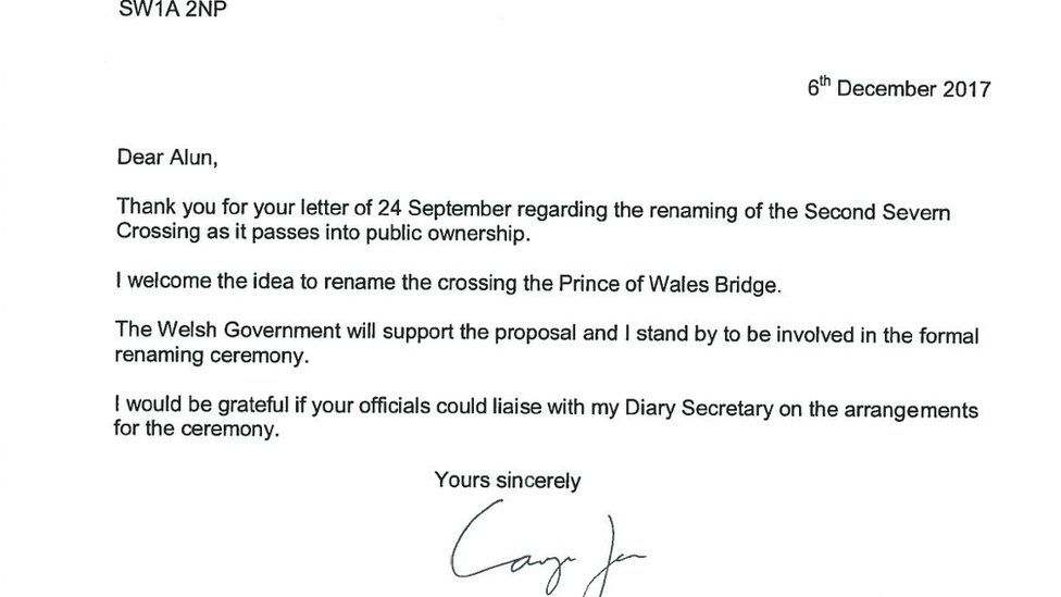Carwyn Jones' letter supporting the name change