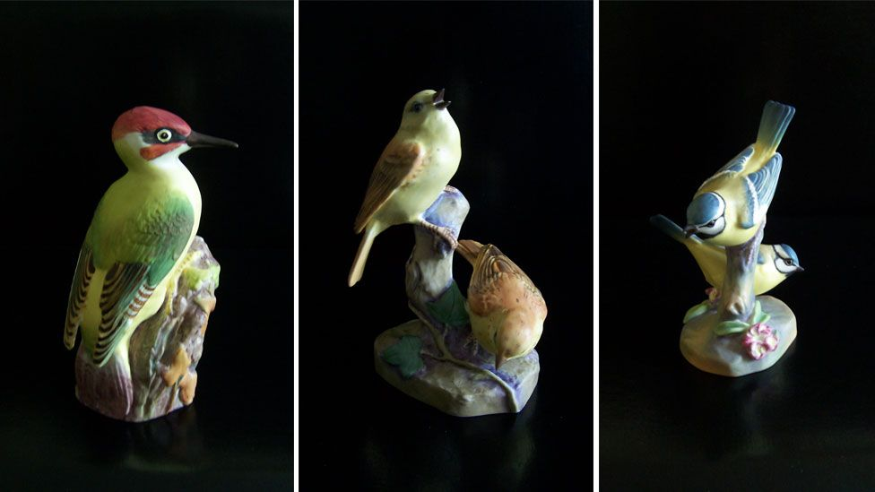 Bird figurines modelled by Eva Soper for the The Royal Worcester Porcelain Company