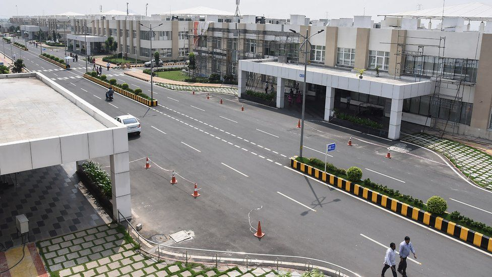 The photo shows the Andhra Pradesh state government headquarters in the under construction 'city' of Amaravati