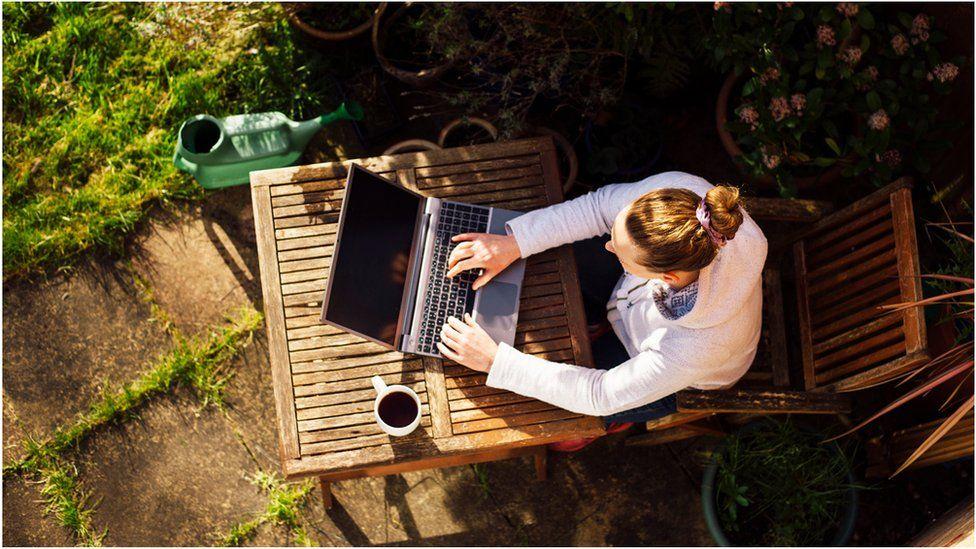 Homeworker in a garden - aerial image