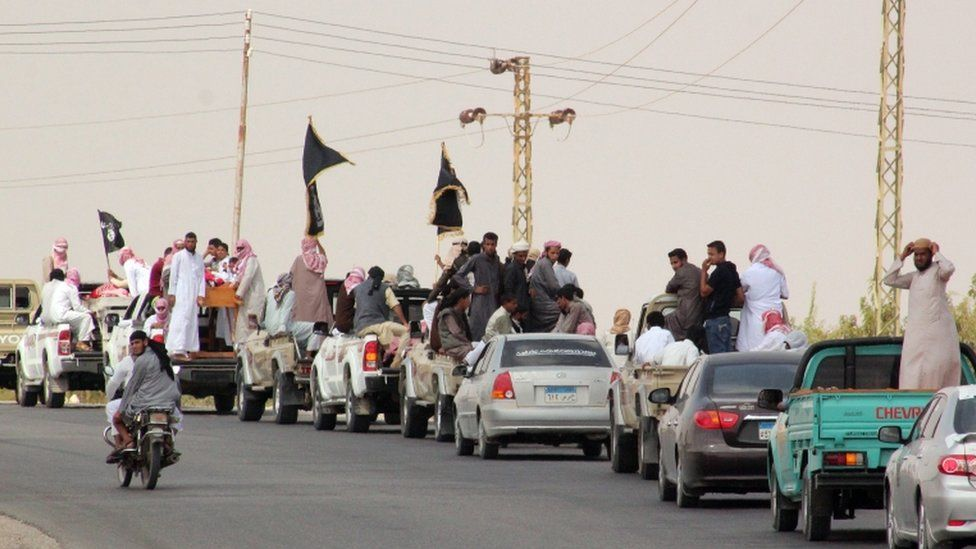A funeral convoy of Ansar Beit al-Maqdis fighters in Sinai in 2013