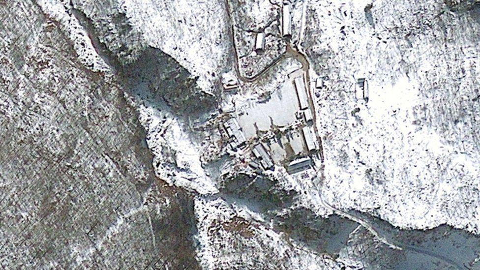 A satellite image of North Korean nuclear test site Punggye-ri