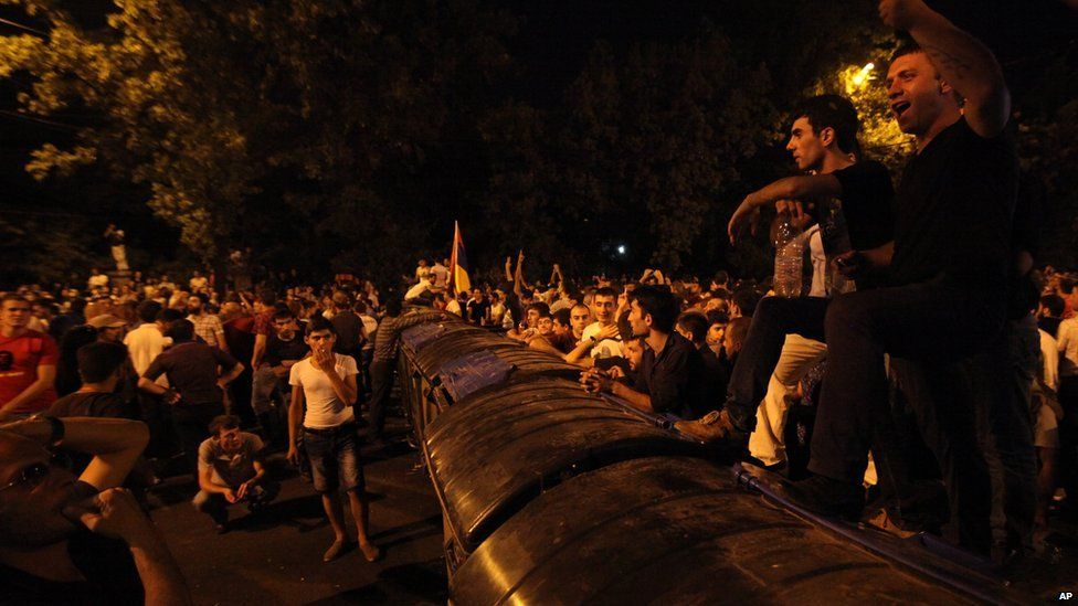 Protest against rising energy prices in Yerevan. 23 June 2015