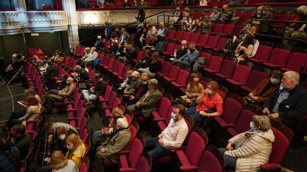 A socially distanced crowd at York Theatre