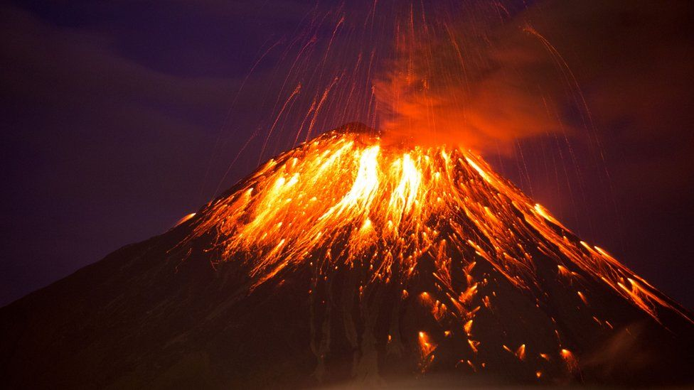 The Tungurahua volcano in Ecuador erupting in 2016