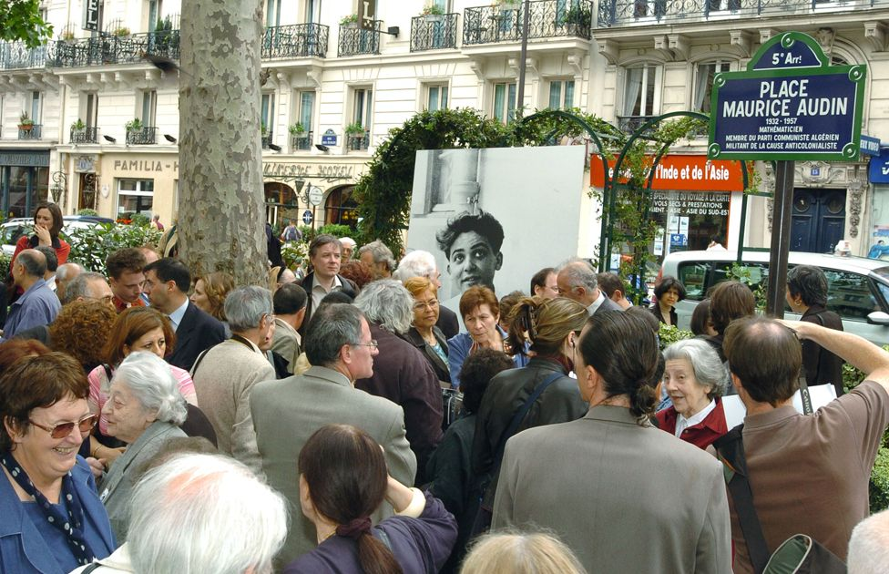 A square in Paris was named after Maurice Audin in 2004 (Josette can be seen to the right of the picture wearing a red jacket)