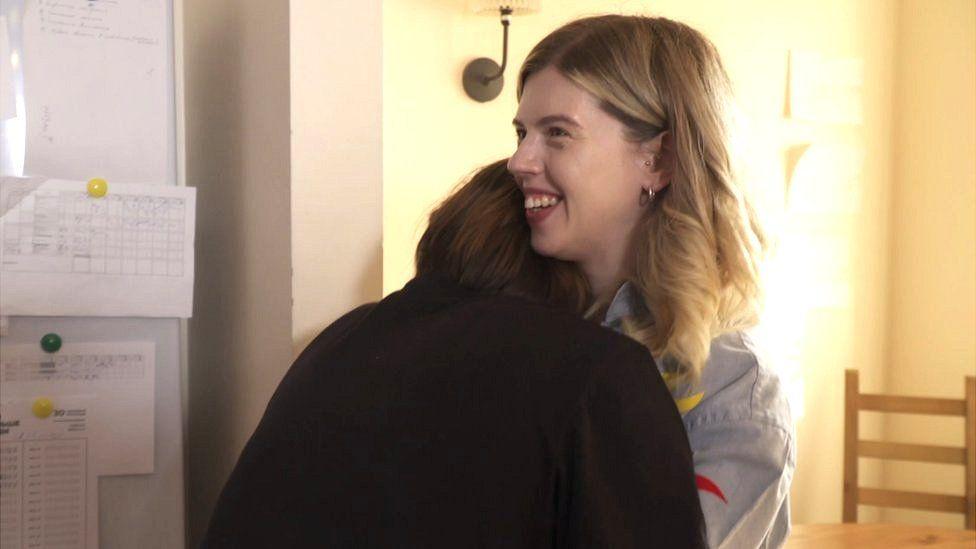 Nina and Arina hugging