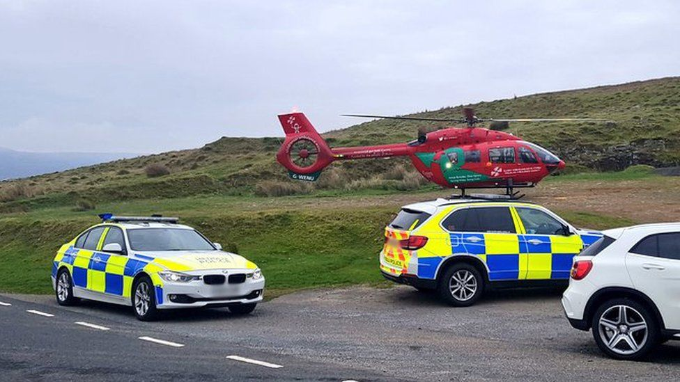 Air ambulance and police attended the scene of the crash