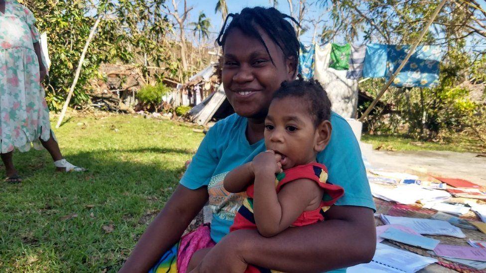 Enes and her son Miles (age 1), Sanma Province, Vanuatu