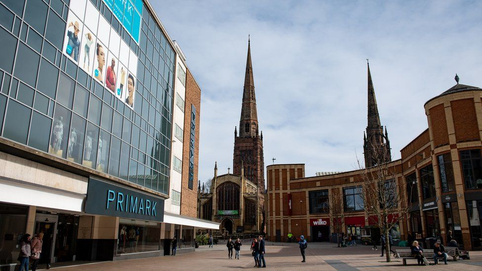 A quieter Coventry city centre this afternoon on the first day after Prime Minister Boris Johnson ordered pubs and restaurants across the country to close