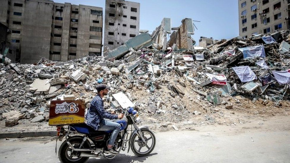 Destroyed tower in Gaza