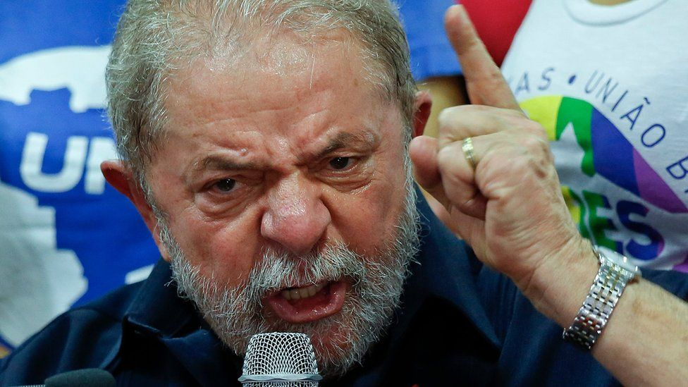 Brazil's former President Luiz Inacio Lula da Silva speaks during press conference at the Workers Party headquarters in Sao Paulo on 4 March
