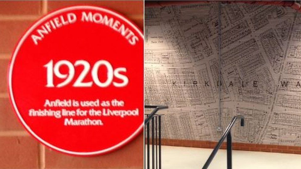 Plaque and wall art recalls past events in the stand concourse