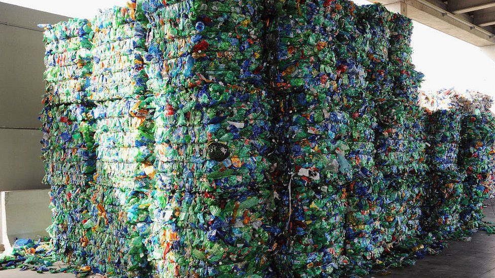 Plastic bottles ready to be recycled collected by fishermen in the Tyrrhenian Sea on May 24, 2018 in Pontedera near Pisa, Italy.