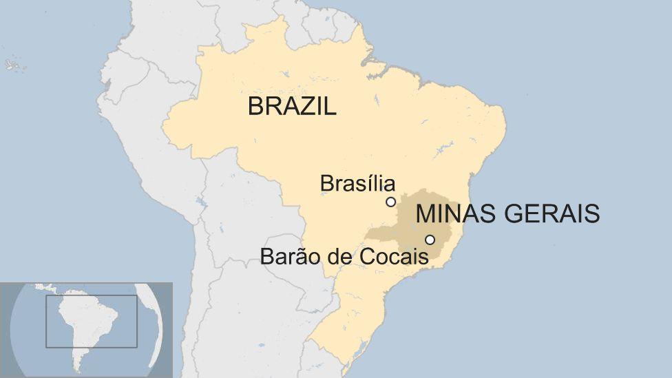 Map of Brazil highlighting Barão de Cocais