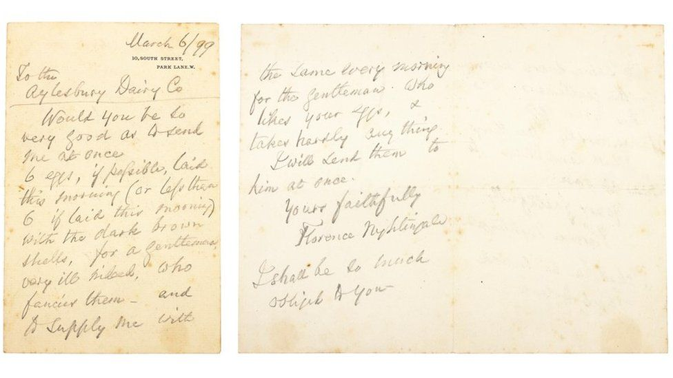 The letter written by Florence Nightingale