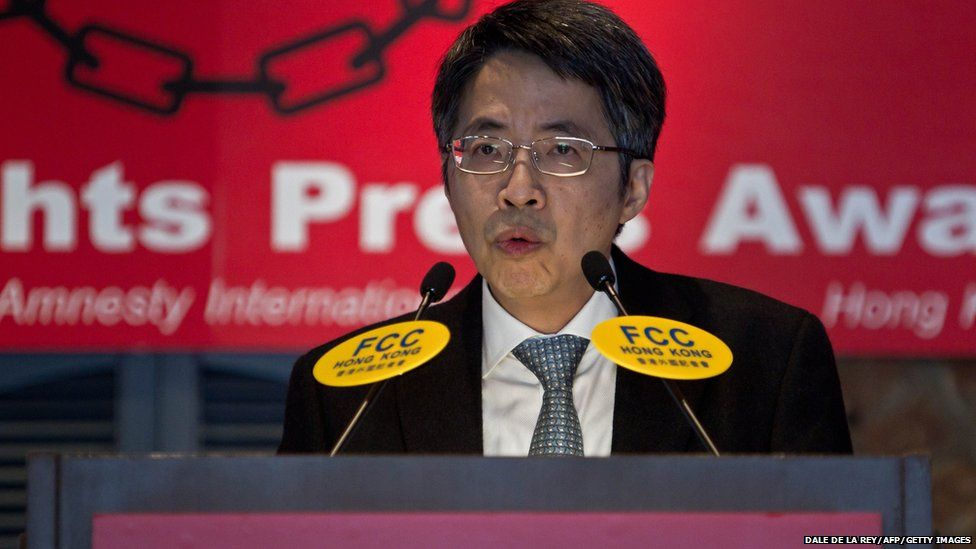 Kevin Lau, former editor of the liberal Ming Pao newspaper, speaks during the 19th Human Rights Press Awards in Hong Kong on May 9, 2015