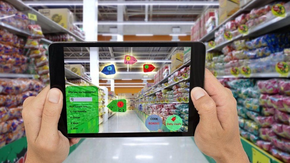 Augmented reality concept in supermarket
